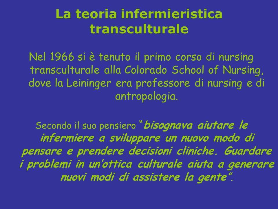 La teoria infermieristica transculturale Nel 1966 si è tenuto il primo corso di nursing transculturale alla Colorado School of Nursing, dove la Leinin