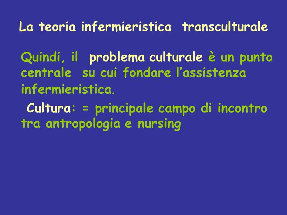 La teoria infermieristica transculturale Quindi, il problema culturale è un punto centrale su cui fondare lassistenza infermieristica. Cultura: = prin