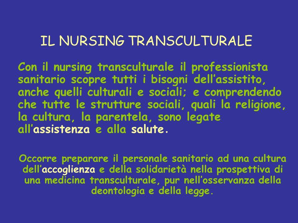 IL NURSING TRANSCULTURALE Con il nursing transculturale il professionista sanitario scopre tutti i bisogni dellassistito, anche quelli culturali e soc