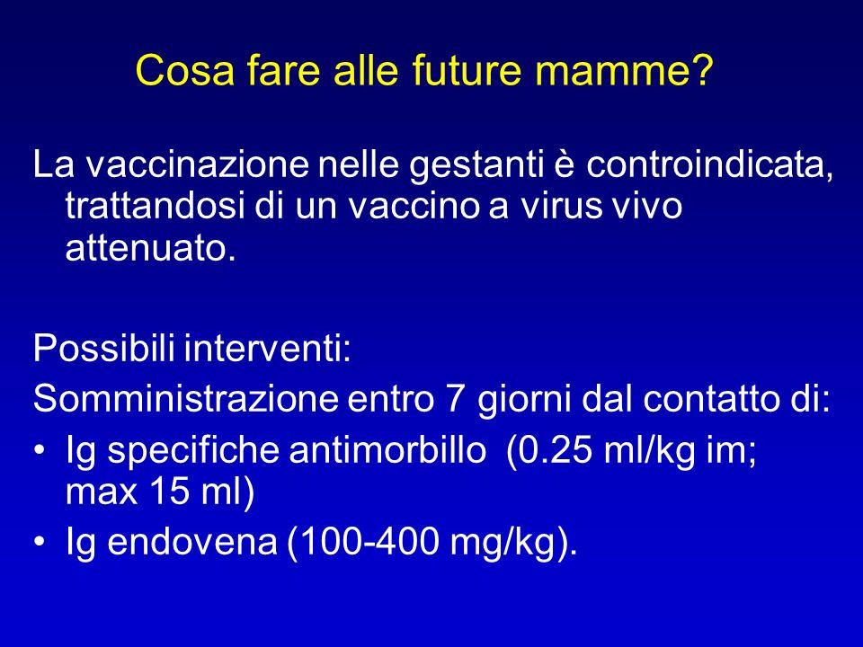 La vaccinazione nelle gestanti è controindicata, trattandosi di un vaccino a virus vivo attenuato. Possibili interventi: Somministrazione entro 7 gior