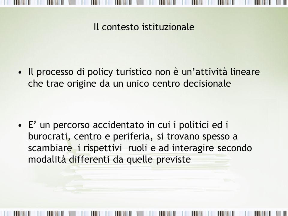 Il contesto istituzionale Il processo di policy turistico non è unattività lineare che trae origine da un unico centro decisionale E un percorso accid