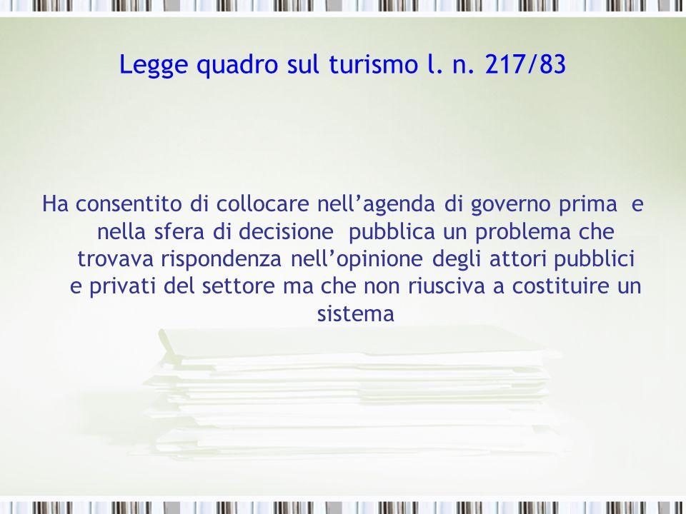 Legge quadro sul turismo l. n. 217/83 Ha consentito di collocare nellagenda di governo prima e nella sfera di decisione pubblica un problema che trova
