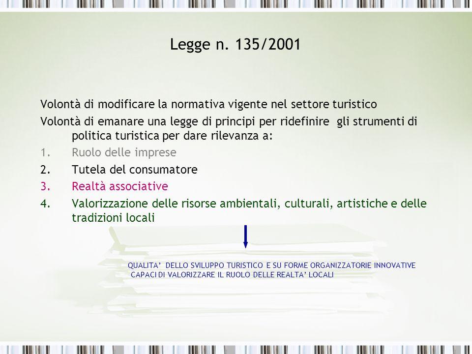 Legge n. 135/2001 Volontà di modificare la normativa vigente nel settore turistico Volontà di emanare una legge di principi per ridefinire gli strumen