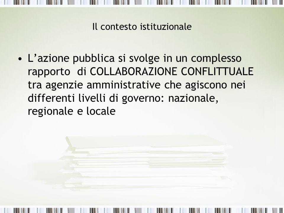 Il contesto istituzionale Lazione pubblica si svolge in un complesso rapporto di COLLABORAZIONE CONFLITTUALE tra agenzie amministrative che agiscono n