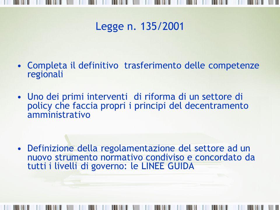 Legge n. 135/2001 Completa il definitivo trasferimento delle competenze regionali Uno dei primi interventi di riforma di un settore di policy che facc