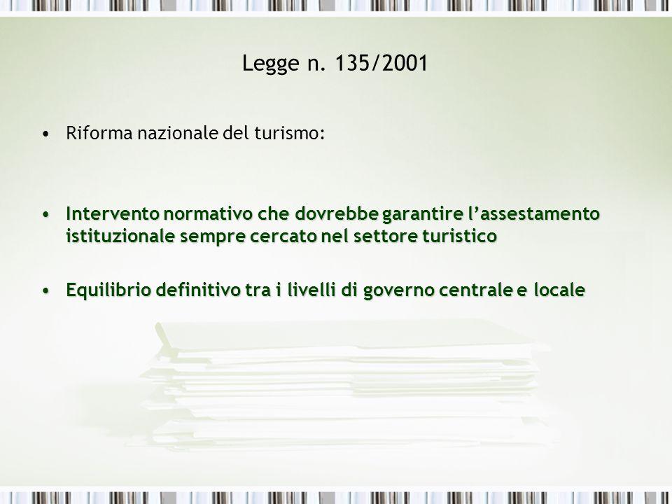 Legge n. 135/2001 Riforma nazionale del turismo: Intervento normativo che dovrebbe garantire lassestamento istituzionale sempre cercato nel settore tu