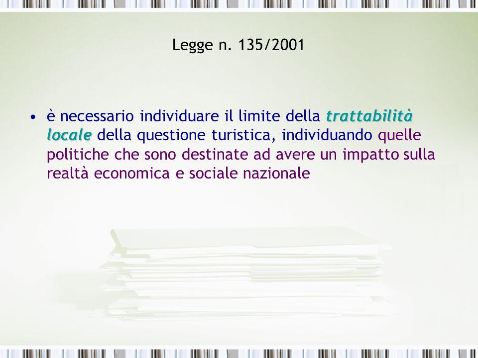 Legge n. 135/2001 trattabilità localeè necessario individuare il limite della trattabilità locale della questione turistica, individuando quelle polit