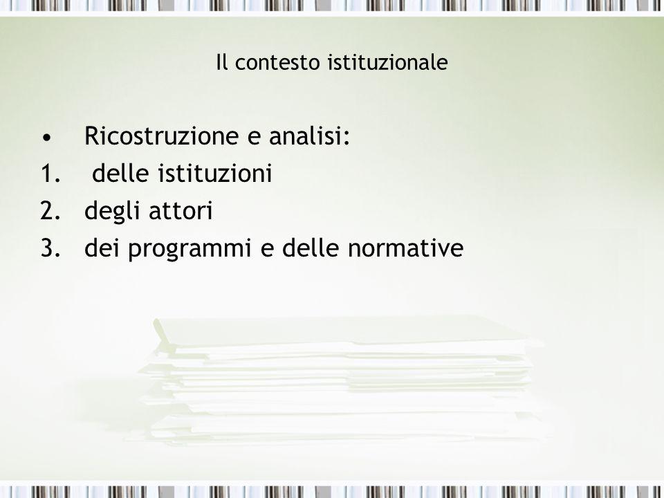 Il contesto istituzionale Ricostruzione e analisi: 1. delle istituzioni 2.degli attori 3.dei programmi e delle normative