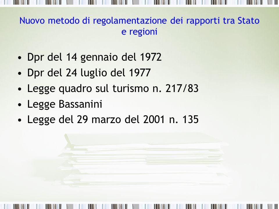 Nuovo metodo di regolamentazione dei rapporti tra Stato e regioni Dpr del 14 gennaio del 1972 Dpr del 24 luglio del 1977 Legge quadro sul turismo n. 2