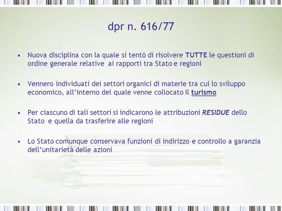 dpr n. 616/77 Nuova disciplina con la quale si tentò di risolvere TUTTE le questioni di ordine generale relative ai rapporti tra Stato e regioni Venne