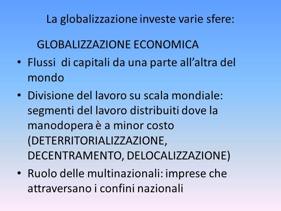 La globalizzazione investe varie sfere: GLOBALIZZAZIONE ECONOMICA Flussi di capitali da una parte allaltra del mondo Divisione del lavoro su scala mon