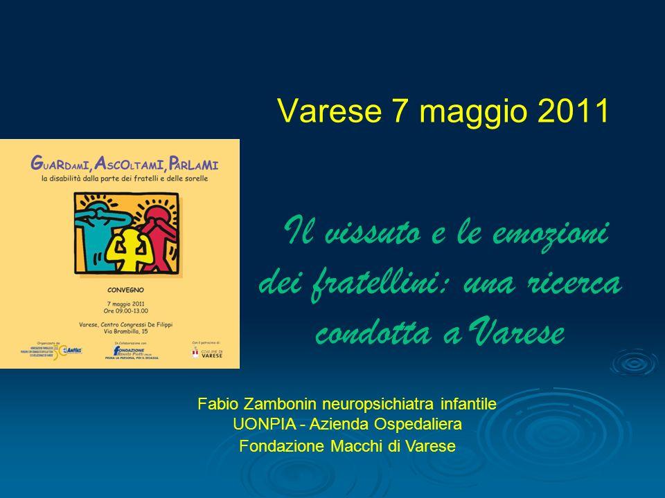 Varese 7 maggio 2011 Il vissuto e le emozioni dei fratellini: una ricerca condotta a Varese Fabio Zambonin neuropsichiatra infantile UONPIA - Azienda