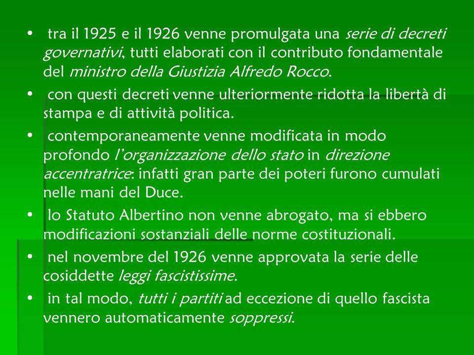 tra il 1925 e il 1926 venne promulgata una serie di decreti governativi, tutti elaborati con il contributo fondamentale del ministro della Giustizia A