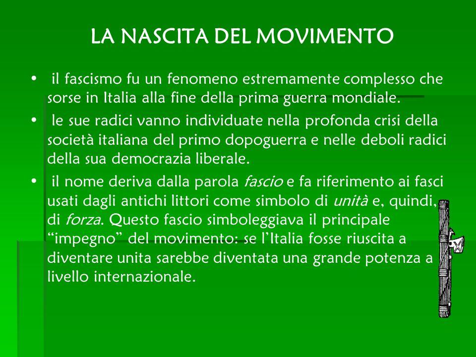 LA NASCITA DEL MOVIMENTO il fascismo fu un fenomeno estremamente complesso che sorse in Italia alla fine della prima guerra mondiale. le sue radici va