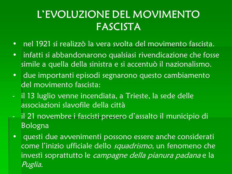 LEVOLUZIONE DEL MOVIMENTO FASCISTA nel 1921 si realizzò la vera svolta del movimento fascista. infatti si abbandonarono qualsiasi rivendicazione che f