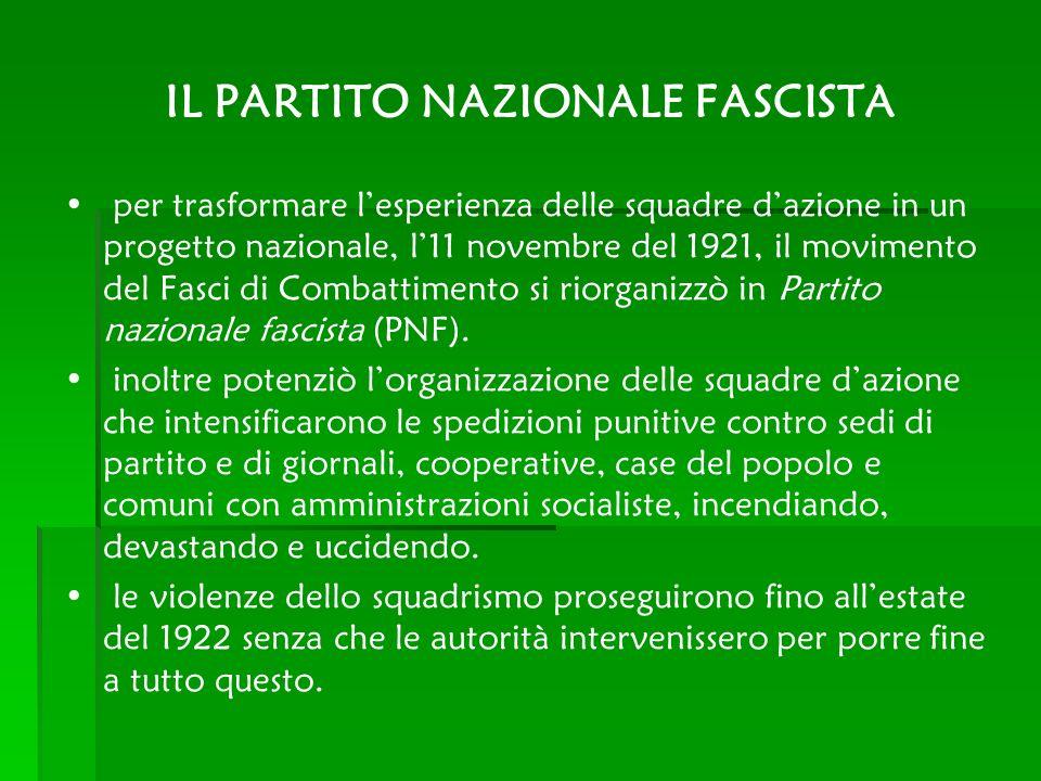 IL PARTITO NAZIONALE FASCISTA per trasformare lesperienza delle squadre dazione in un progetto nazionale, l11 novembre del 1921, il movimento del Fasc