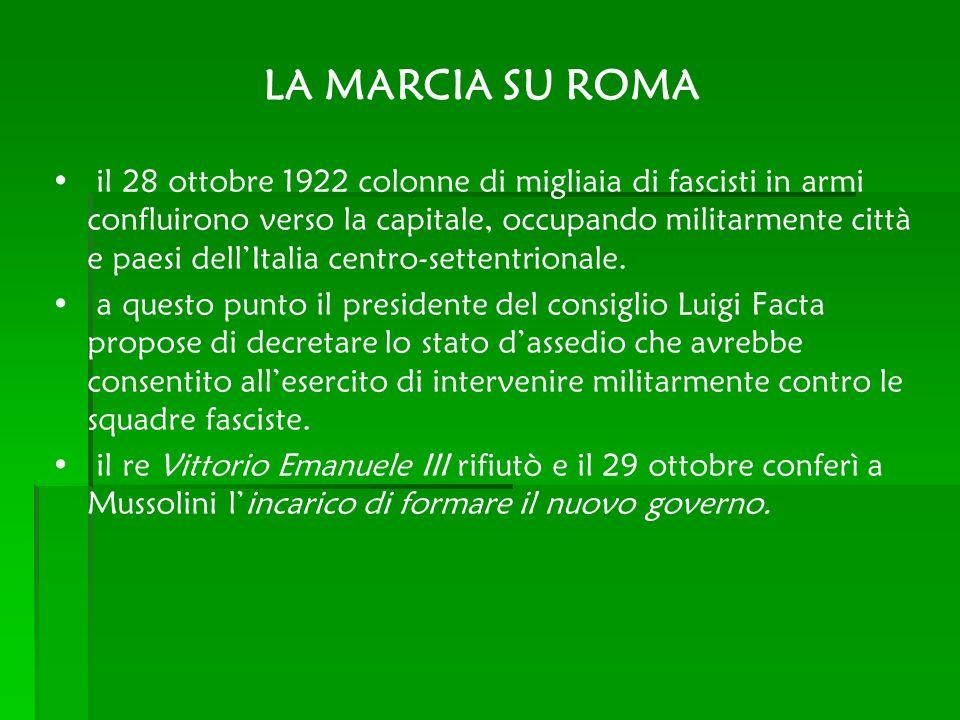 LA MARCIA SU ROMA il 28 ottobre 1922 colonne di migliaia di fascisti in armi confluirono verso la capitale, occupando militarmente città e paesi dellI