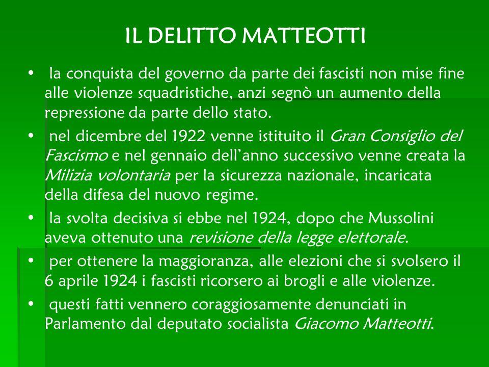 IL DELITTO MATTEOTTI la conquista del governo da parte dei fascisti non mise fine alle violenze squadristiche, anzi segnò un aumento della repressione