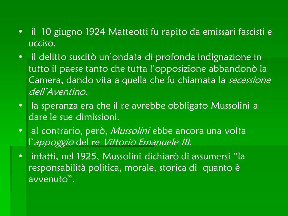 il 10 giugno 1924 Matteotti fu rapito da emissari fascisti e ucciso. il delitto suscitò unondata di profonda indignazione in tutto il paese tanto che