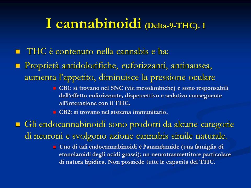 I cannabinoidi (Delta-9-THC). 1 THC è contenuto nella cannabis e ha: THC è contenuto nella cannabis e ha: Proprietà antidolorifiche, euforizzanti, ant