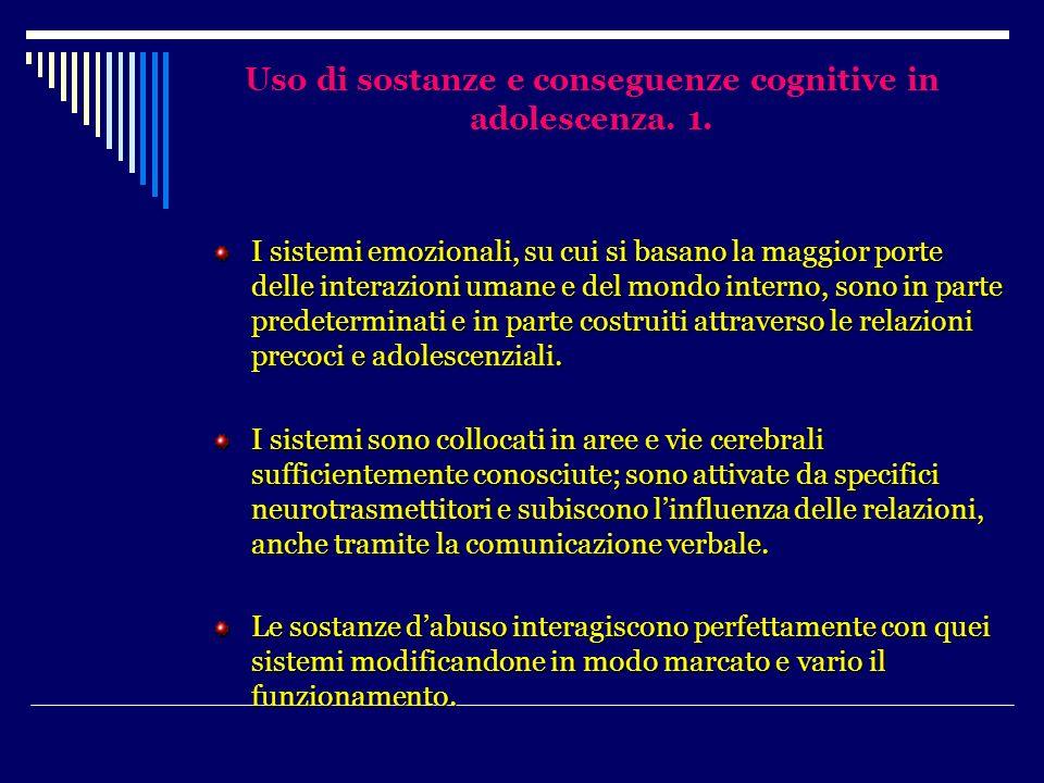 Uso di sostanze e conseguenze cognitive in adolescenza. 1. I sistemi emozionali, su cui si basano la maggior porte delle interazioni umane e del mondo