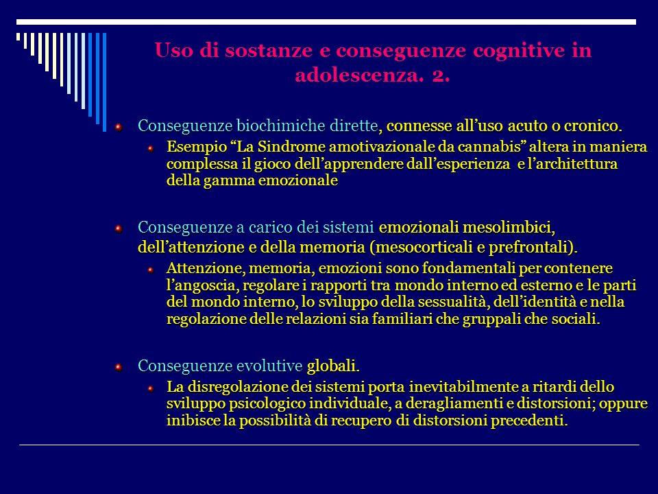 Uso di sostanze e conseguenze cognitive in adolescenza. 2. Conseguenze biochimiche dirette, connesse alluso acuto o cronico. Esempio La Sindrome amoti
