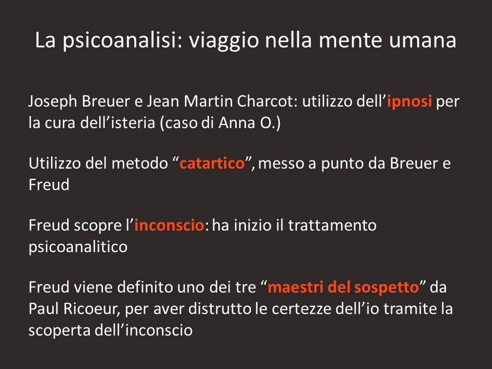 La psicoanalisi: viaggio nella mente umana Joseph Breuer e Jean Martin Charcot: utilizzo dellipnosi per la cura dellisteria (caso di Anna O.) Utilizzo
