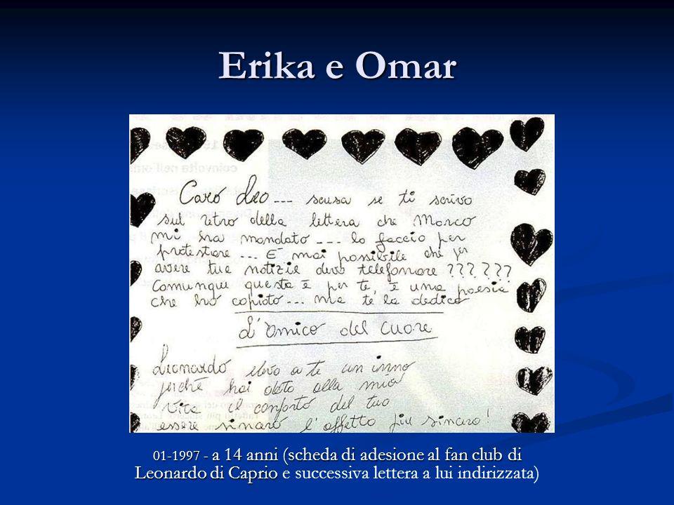 Erika e Omar 01-1997 - a 14 anni (scheda di adesione al fan club di Leonardo di Caprio 01-1997 - a 14 anni (scheda di adesione al fan club di Leonardo