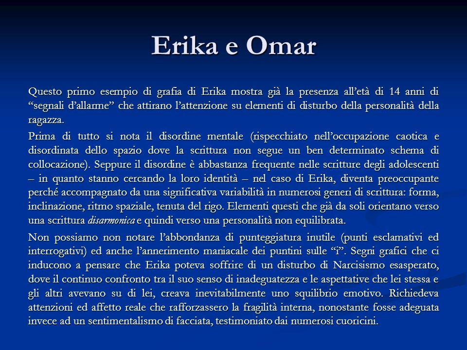 Erika e Omar Questo primo esempio di grafia di Erika mostra già la presenza alletà di 14 anni di segnali dallarme che attirano lattenzione su elementi