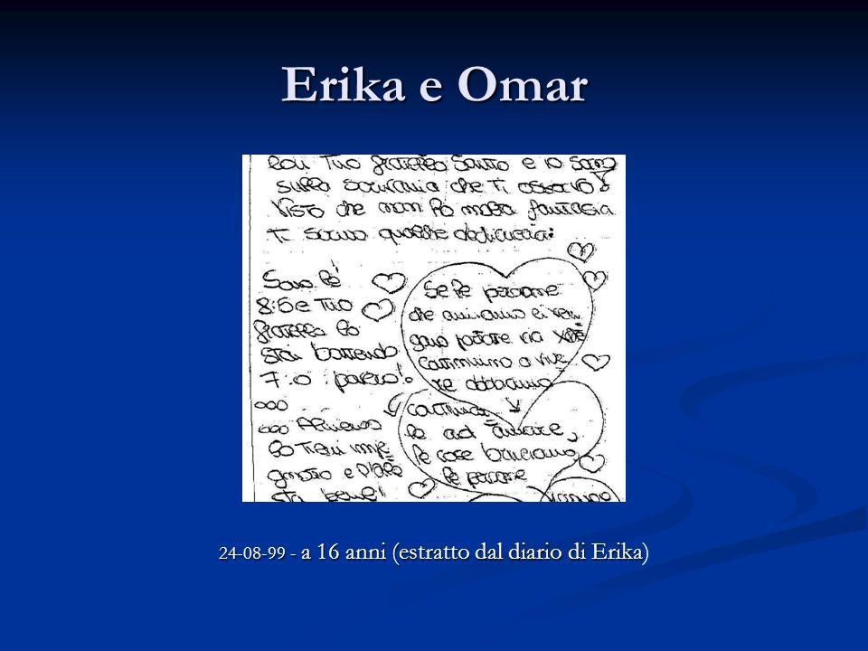 Erika e Omar 24-08-99 - a 16 anni (estratto dal diario di Erika 24-08-99 - a 16 anni (estratto dal diario di Erika)