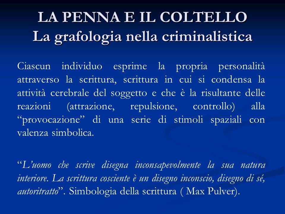 LA PENNA E IL COLTELLO La grafologia nella criminalistica Ciascun individuo esprime la propria personalità attraverso la scrittura, scrittura in cui s