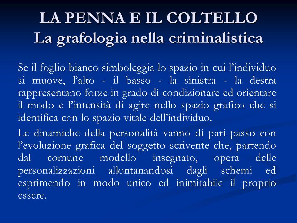 LA PENNA E IL COLTELLO La grafologia nella criminalistica La grafologia, decodificando ogni segno lasciato sulla carta, fornisce informazioni sulle caratteristiche psicologiche del soggetto scrivente.