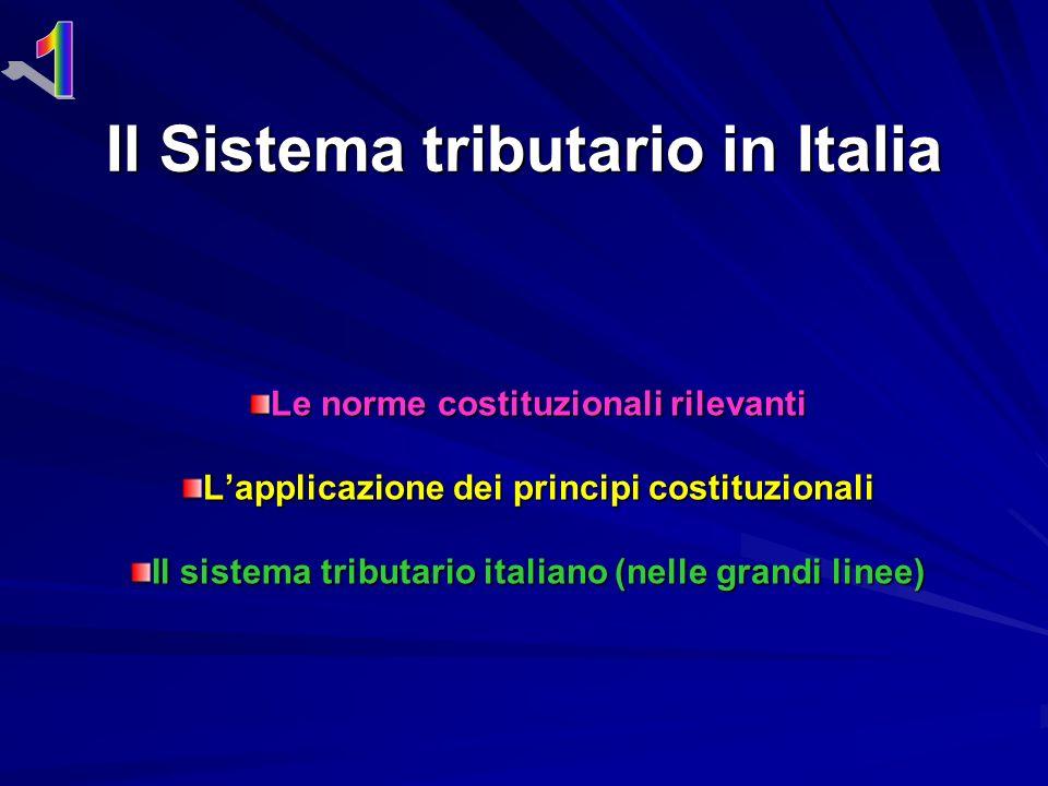 Il Sistema tributario in Italia Le norme costituzionali rilevanti Lapplicazione dei principi costituzionali Il sistema tributario italiano (nelle grandi linee)