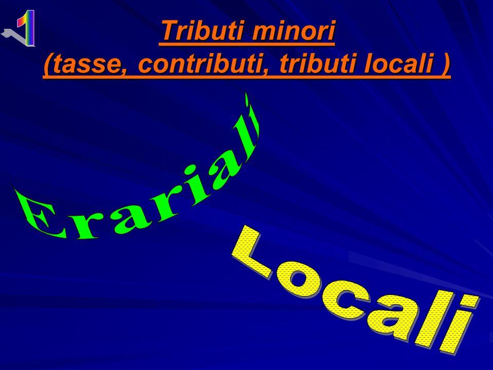 Tributi minori (tasse, contributi, tributi locali )