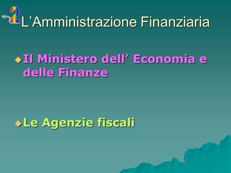 LAmministrazione Finanziaria Il Ministero dell Economia e delle Finanze Il Ministero dell Economia e delle Finanze Le Agenzie fiscali Le Agenzie fiscali
