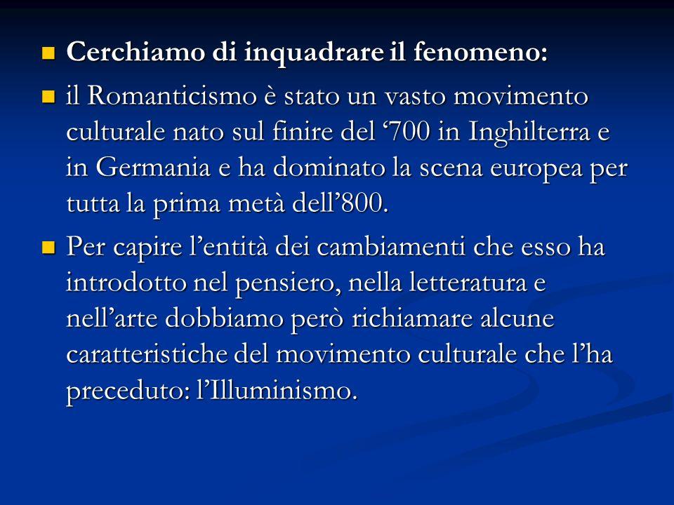 Cerchiamo di inquadrare il fenomeno: Cerchiamo di inquadrare il fenomeno: il Romanticismo è stato un vasto movimento culturale nato sul finire del 700