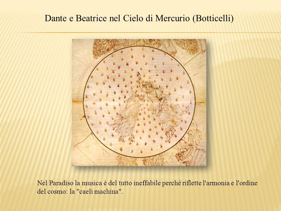 Dante e Beatrice nel Cielo di Mercurio (Botticelli) Nel Paradiso la musica è del tutto ineffabile perché riflette l'armonia e l'ordine del cosmo: la