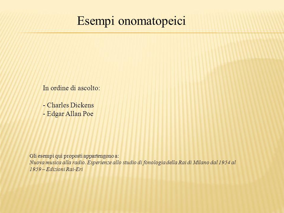 Esempi onomatopeici In ordine di ascolto: - Charles Dickens - Edgar Allan Poe Gli esempi qui proposti appartengono a: Nuova musica alla radio. Esperie