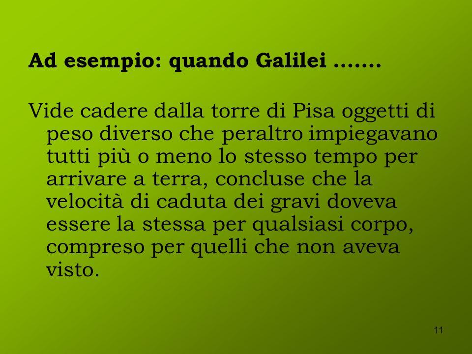 11 Ad esempio: quando Galilei ……. Vide cadere dalla torre di Pisa oggetti di peso diverso che peraltro impiegavano tutti più o meno lo stesso tempo pe