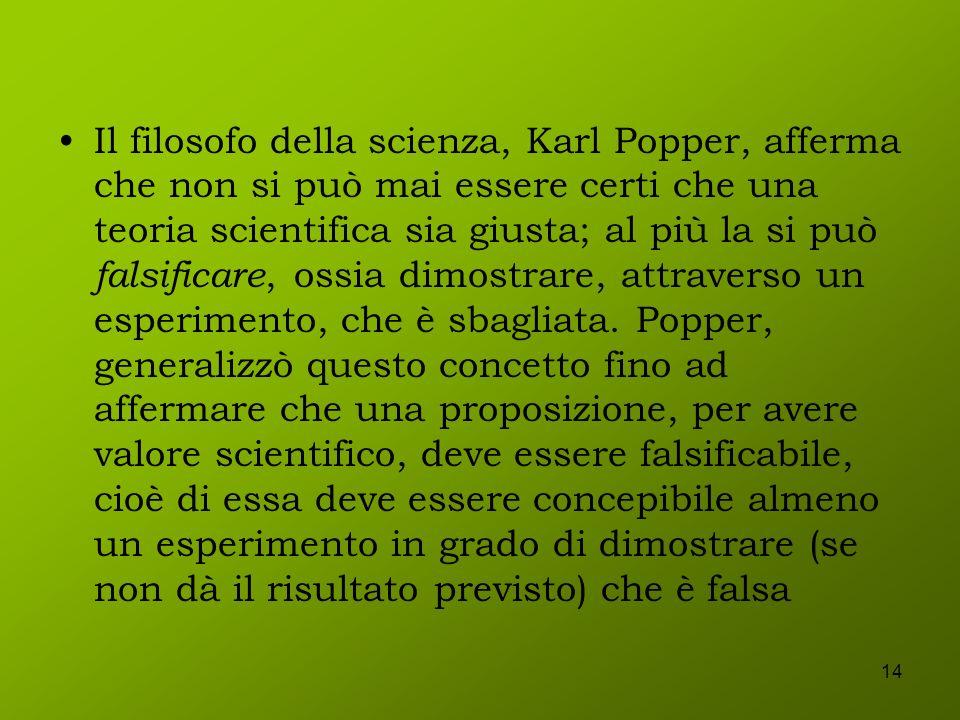 14 Il filosofo della scienza, Karl Popper, afferma che non si può mai essere certi che una teoria scientifica sia giusta; al più la si può falsificare
