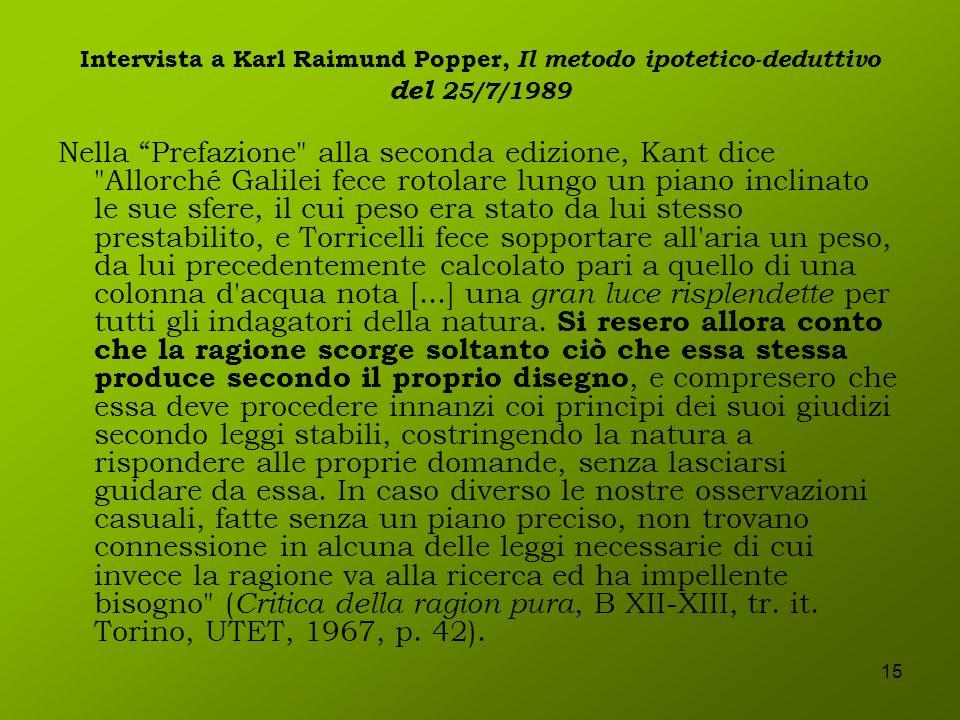 15 Intervista a Karl Raimund Popper, Il metodo ipotetico-deduttivo del 25/7/1989 Nella Prefazione
