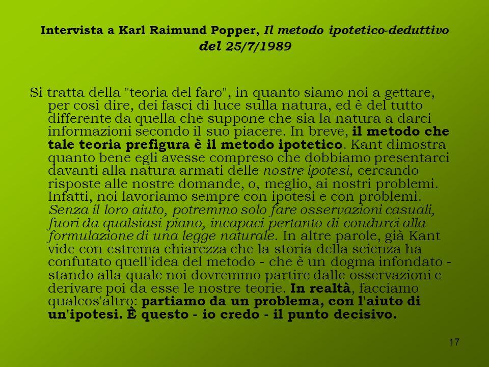 17 Intervista a Karl Raimund Popper, Il metodo ipotetico-deduttivo del 25/7/1989 Si tratta della