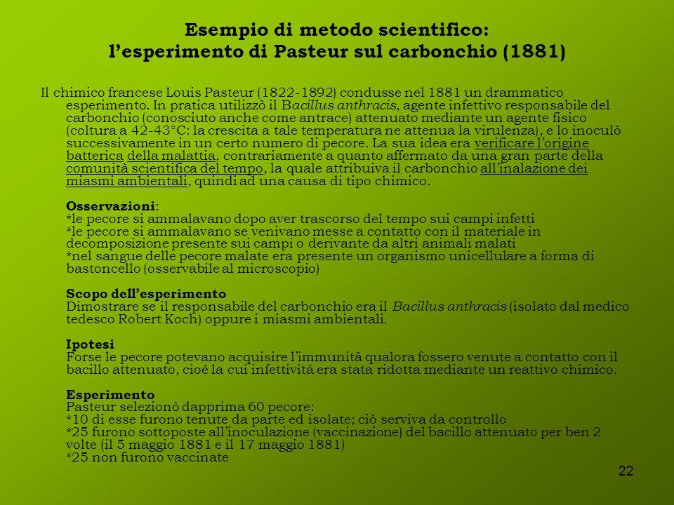 22 Esempio di metodo scientifico: lesperimento di Pasteur sul carbonchio (1881) Il chimico francese Louis Pasteur (1822-1892) condusse nel 1881 un dra