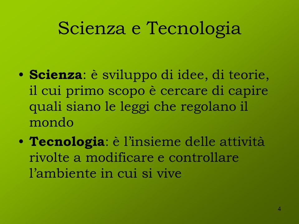 4 Scienza e Tecnologia Scienza : è sviluppo di idee, di teorie, il cui primo scopo è cercare di capire quali siano le leggi che regolano il mondo Tecn