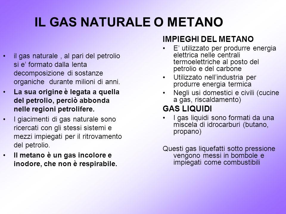 IL GAS NATURALE O METANO il gas naturale, al pari del petrolio si e formato dalla lenta decomposizione di sostanze organiche durante milioni di anni.