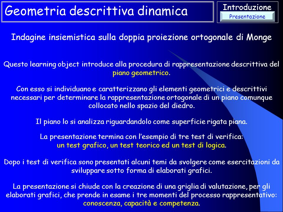 Introduzione Indagine insiemistica sulla doppia proiezione ortogonale di Monge Geometria descrittiva dinamica Questo learning object introduce alla pr