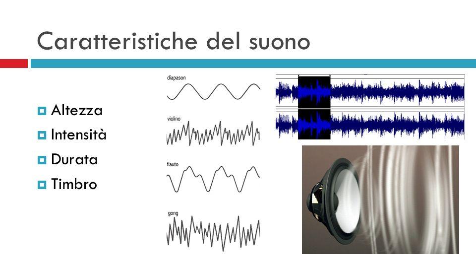 Caratteristiche del suono Altezza Intensità Durata Timbro