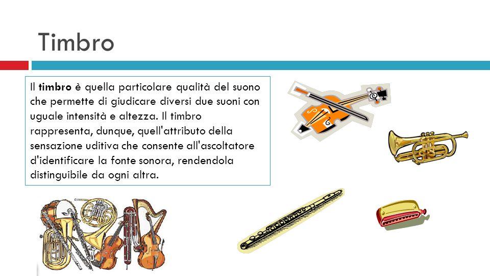 Timbro Il timbro è quella particolare qualità del suono che permette di giudicare diversi due suoni con uguale intensità e altezza. Il timbro rapprese
