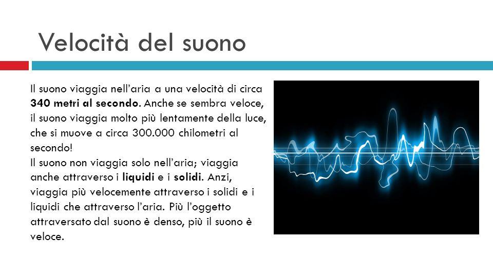 Velocità del suono Il suono viaggia nellaria a una velocità di circa 340 metri al secondo. Anche se sembra veloce, il suono viaggia molto più lentamen