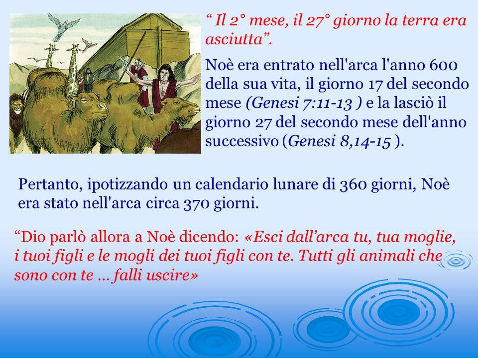 Il 2° mese, il 27° giorno la terra era asciutta. Noè era entrato nell'arca l'anno 600 della sua vita, il giorno 17 del secondo mese (Genesi 7:11-13 )
